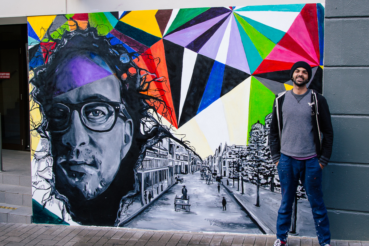 pakistani artist unveils 8ft mural of a revitalised newcastle in